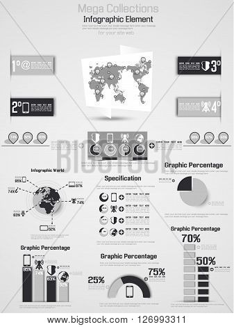 RETRO INFOGRAPHIC DEMOGRAPHIC WORLD MAP ELEMENTS 2 GREY