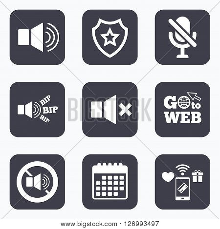 Mobile payments, wifi and calendar icons. Player control icons. Sound, microphone and mute speaker signs. No sound symbol. Go to web symbol.