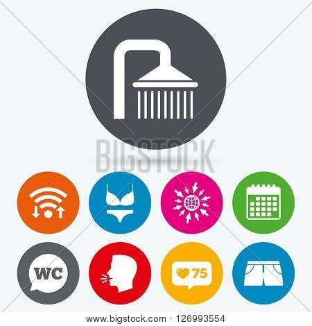 Wifi, like counter and calendar icons. Swimming pool icons. Shower water drops and swimwear symbols. WC Toilet speech bubble sign. Trunks and women underwear. Human talk, go to web.