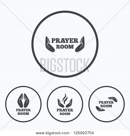 Prayer room icons. Religion priest faith symbols. Pray with hands. Icons in circles.