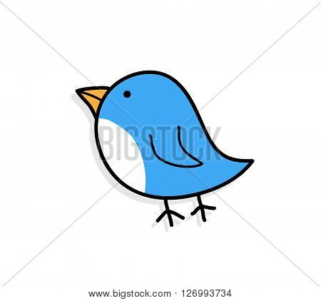 Cute Blue Bird, a hand drawn vector illustration of a cute blue bird with shadow backdrop (on separate group).