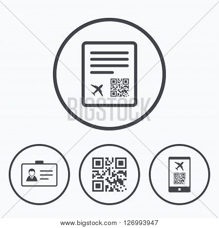 QR scan code in smartphone icon. Boarding pass flight sign. Identity ID card badge symbol. Icons in circles.