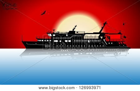 Silhouette Of Touristic Pleasure Boat Sailing On The River With Reflection On Water And Red Sunset A