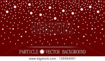 Abstract falling snow particles burgundy red background. Style background for presentation cards scientific and jewelry design. Vector illustration