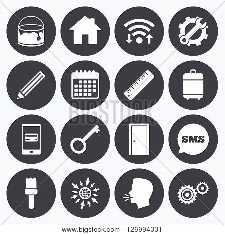 Wifi, calendar and mobile payments. Repair, construction icons. Service, key and door signs. Painting, brush and pencil symbols. Sms speech bubble, go to web symbols.