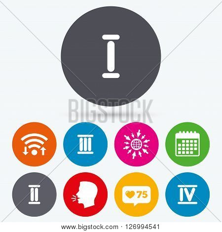 Wifi, like counter and calendar icons. Roman numeral icons. 1, 2, 3 and 4 digit characters. Ancient Rome numeric system. Human talk, go to web.