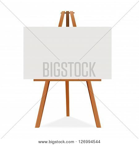 Wooden easel with canvas. Blank space ready for your advertising and presentation. Vector mock up illustration.