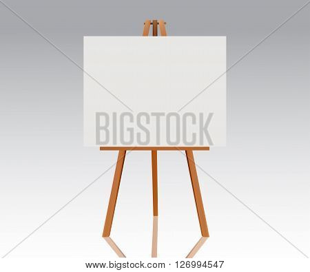 Wooden easel with empty canvas. Blank space ready for your advertising design and presentation. Vector mock up illustration.