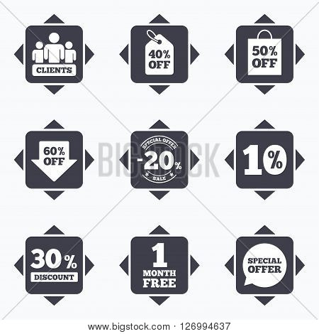 Icons with direction arrows. Sale discounts icon. Shopping, clients and speech bubble signs. 20, 30, 40 and 50 percent off. Special offer symbols. Square buttons.