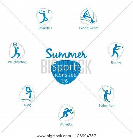 Summer sports icons set 1 of 6 vector illustration template, olympic sports, rio 2016 icons