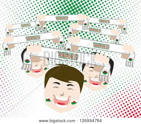 Fans and scarves - Wales football national team supporters flat design vector illustration