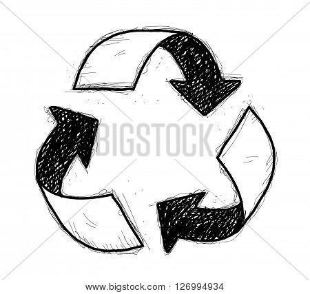 Recycle Symbol Doodle, a hand drawn vector doodle illustration of a recycle symbol.