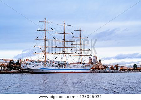 SAINT-PETERSBURG RUSSIA - OCTOBER 20 2012. Mir - three-masted ship on the Neva River. It won prizes at the most prestigious sailing regattas and considered the fastest sailing ship in the world.