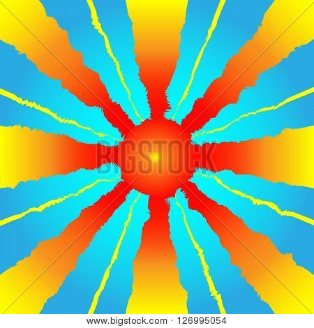 Schematic Sun With Rays Against Blue Sky Vector Illustration