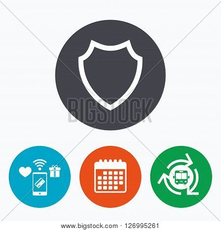 Shield sign icon. Protection symbol. Mobile payments, calendar and wifi icons. Bus shuttle.