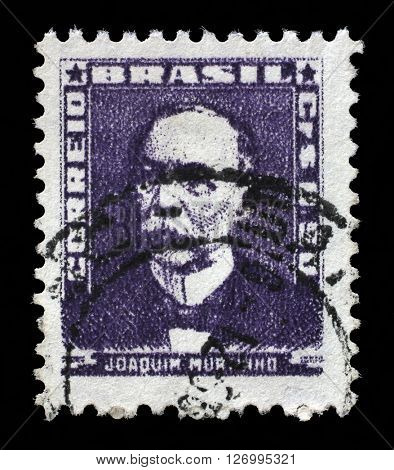 ZAGREB, CROATIA - SEPTEMBER 18: A stamp printed in Brazil, shows portrait of Joaquim Murtinho, with the same inscription, from the series Portraits, circa 1954, on September 18, 2014, Zagreb, Croatia