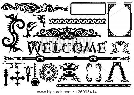 Detailed Vintage Vector Elements In A Gothic Halloween Style: Font, Frames, Swirls, Ornaments, Parts