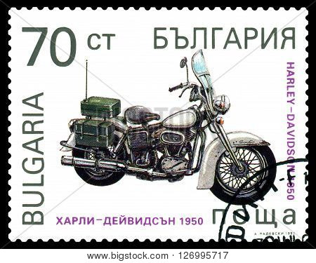 STAVROPOL RUSSIA - MARCH 30 2016: a stamp printed in Bulgaria shows an old motorcycle Harley - Davidson 1950 USA cirka 1992