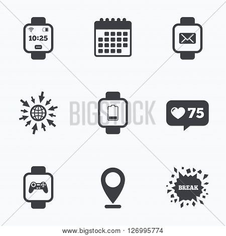 Calendar, like counter and go to web icons. Smart watch icons. Wrist digital time watch symbols. Mail, Game joystick and wi-fi signs. Location pointer.