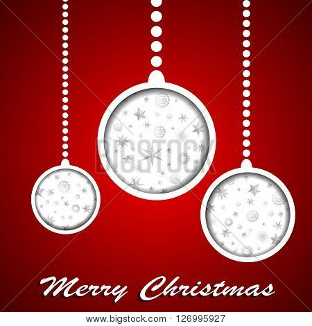 White Christmas Toys With Stars And Snowflakes Cuted In Paper On Red Background. Vector Illustration