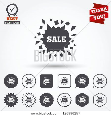 Sale icon. Cracked hole symbol. Circle and square buttons. Star labels and award medal. Thank you ribbon.