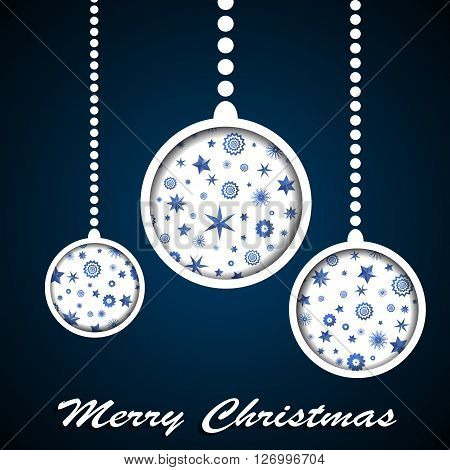 White Christmas Toys With Stars And Snowflakes Cuted In Paper On Dark Blue Background. Vector Illust