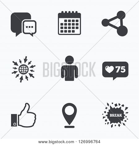 Calendar, like counter and go to web icons. Social media icons. Chat speech bubble and Share link symbols. Like thumb up finger sign. Human person profile. Location pointer.