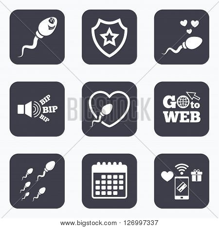 Mobile payments, wifi and calendar icons. Sperm icons. Fertilization or insemination signs. Safe love heart symbol. Go to web symbol.