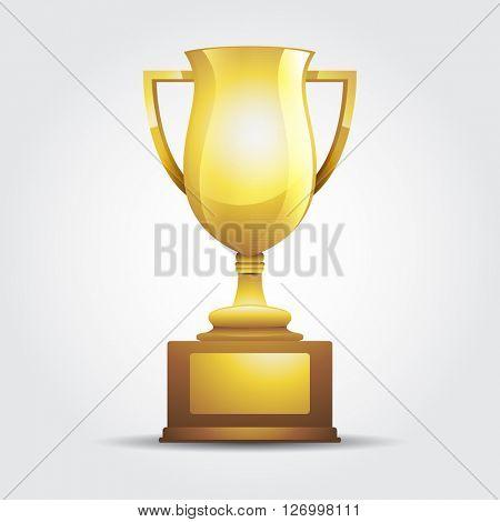 Vector winner golden cup light background