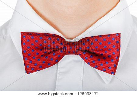 Close up photo of a red bow tie