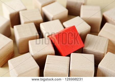 Wooden Toy Cubes On A Brown Wooden Background