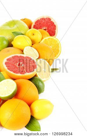 Citrus fruits on a white background, close up
