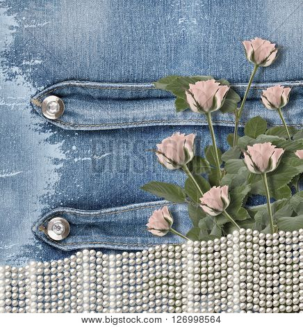 Old Denim Background With Pearls And Roses