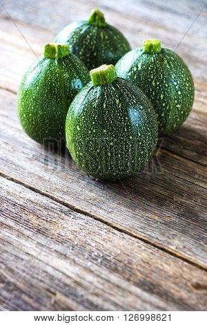 Round Zucchini  On Wooden Background