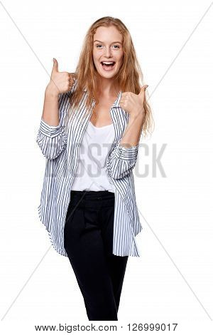 Happy excited woman giving double thumb up, over white background