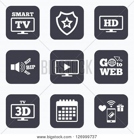 Mobile payments, wifi and calendar icons. Smart TV mode icon. Widescreen symbol. High-definition resolution. 3D Television sign. Go to web symbol.