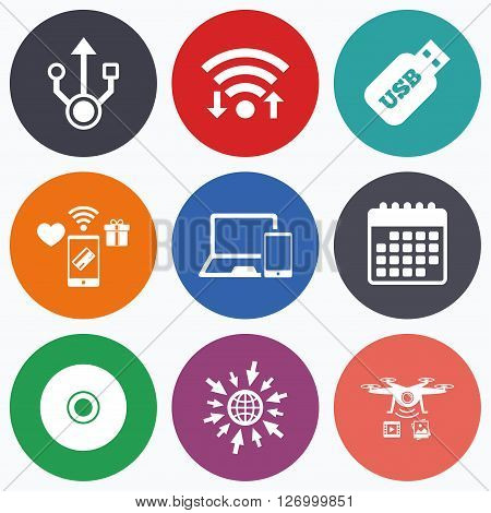 Wifi, mobile payments and drones icons. Usb flash drive icons. Notebook or Laptop pc symbols. Smartphone device. CD or DVD sign. Compact disc. Calendar symbol.