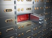 Safe deposit boxes with open one safe cell. 3d illustration poster