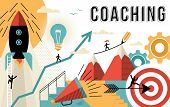 Coaching Concept Line Art Colorful Modern Design poster