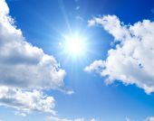 image of clouds sky  - Sun between clouds - JPG