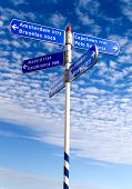 pic of traffic sign  - street sign with countries over a nice blue sky - JPG
