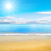 stock photo of sunset beach  - beach under sun - JPG