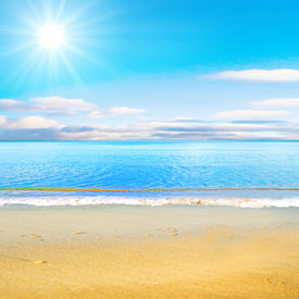 picture of summer beach  - beach under sun - JPG