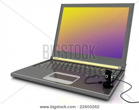 Laptop with a webcam on a white background