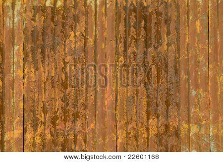 Telhado de Metal enferrujado ondulado