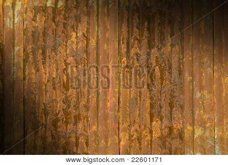 Rusty Metal Roof Lit Diagonally