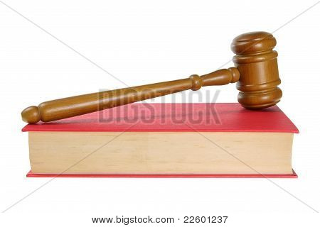 Wooden Gavel On Book