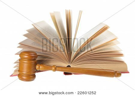 Wooden Gavel And Opened Book