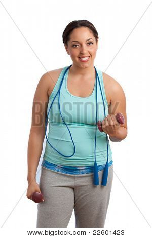 Plus Size Fitness Female Model Holding Weights Isolated on White Background