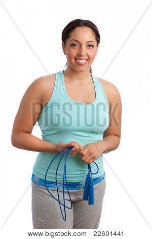 Plus Size Fitness Female Model Holding Jump Rope Isolated on White Background